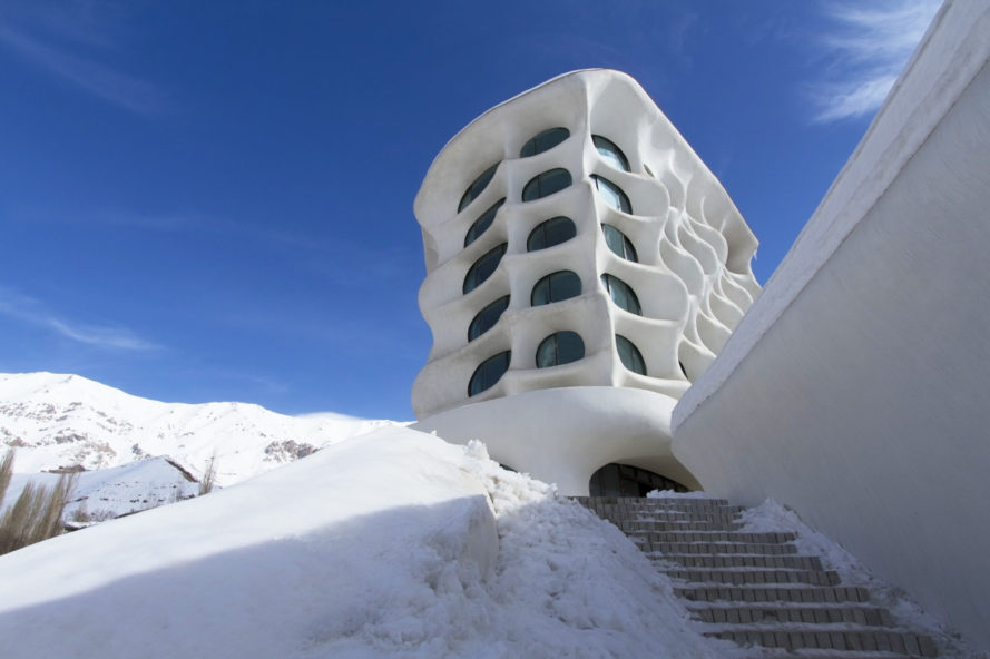 Alborz Mountains, Shemshak Mountains, Barin Ski Resort, Iran, boutique ski resort Iran, cave-like rooms, sustainable design Iran, RYRA Design Studio, boutique hotel melts into surroundings