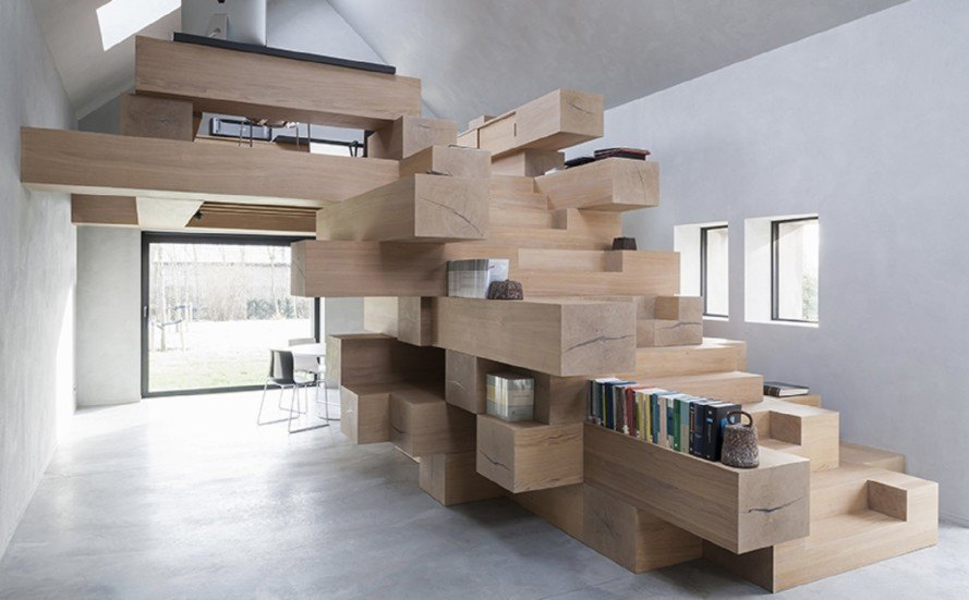 Stacked Timber Beams Act As Multi Use