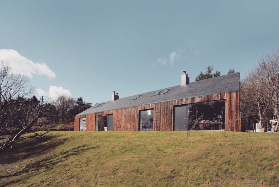Blakeburn Cottage by A449 Architects, scorched larch facade, Scottish architecture, RIAS RIBA Awards 2016 shortlist, Blakeburn refurbishment, Satire Society Housing Design Awards 2016