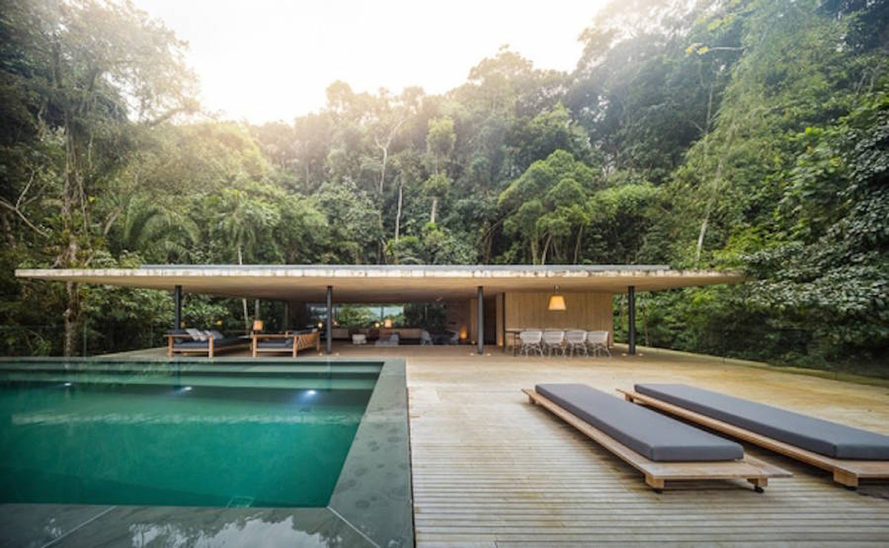 Casa Guarujá, Studio MK27, green roof, swimming pool, green architecture, natural building materials, cantilevers, open-plan residence, open plan, green retreat