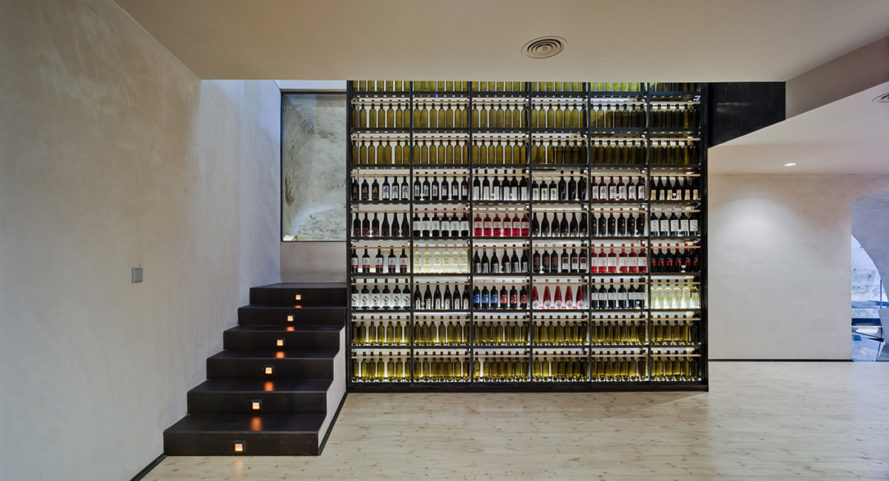 INMAT Arquitectura, wine cellar, green conversion, Spain, gallery space, wine cellar, glass walkways, glass ramp, green architecture, terracotta, landmark building
