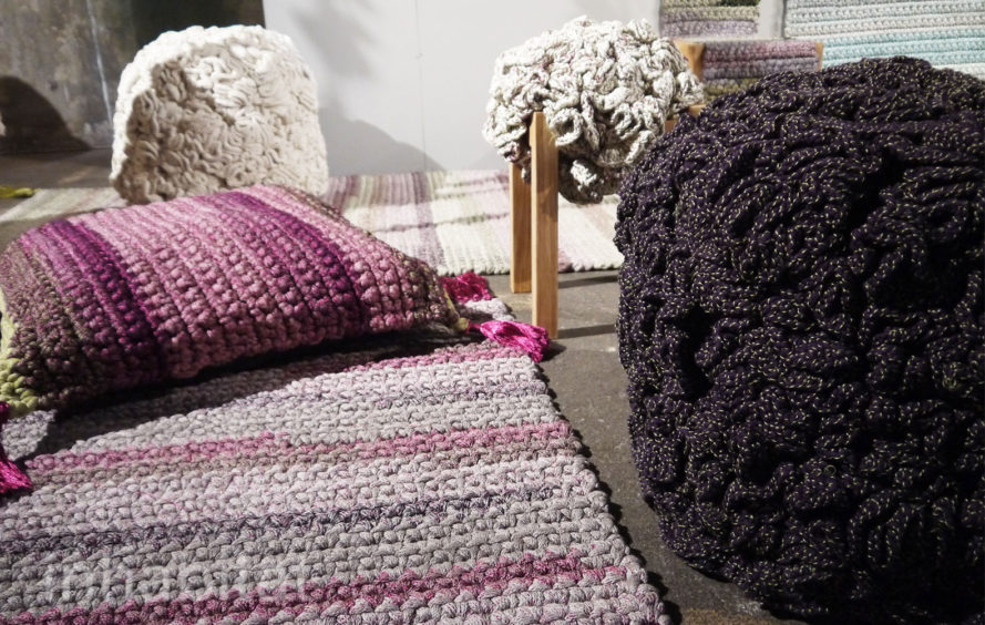 crocheted seating, knit furniture, crocheted furniture, Israeli furniture, crocheted stools, modern design, green design, eco design, Iota Project, Iota Project Israel, social entrepreneurism, fabric stools, fabric cushion seating, eco rugs, eco seating, green home decor, eco home decor