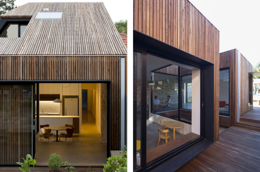 Cut-away Roof House, Scale Architecture, timber cladding, Sydney, green addition, green architecture, natural light, courtyard, hardwood, timber facade