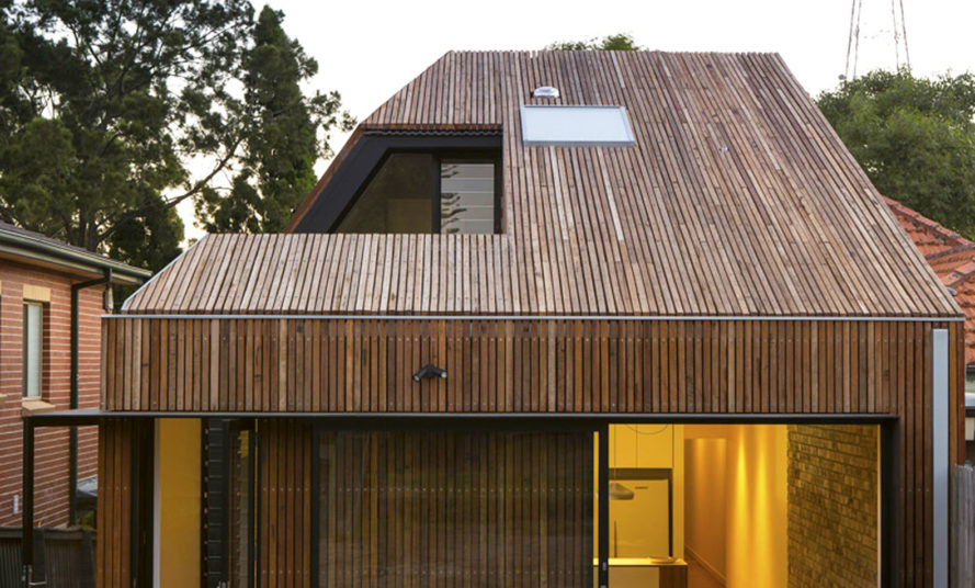 Timber Clad Cut Away Roof House In Sydney Puts A Modern Spin On Traditional Pitched Roofs