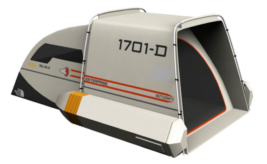 Dave Delisle, star trek, tent, design, star trek tent, geeky toys, star trek designs, north face tents, tent design, quirky tents, hiking gear, geek gear, Star Trek Shuttlecraft Tent,