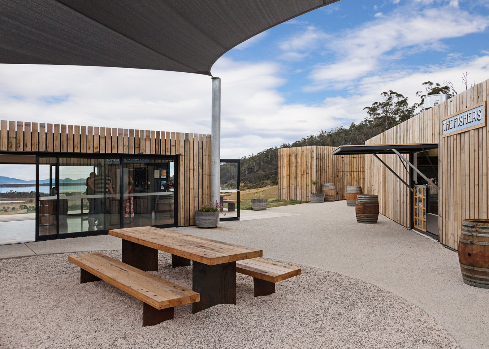 repurposed shipping containers, shipping container architecture, Tasmania lookout tower, Devil's Corner Cellar Door by Cumulus Studio, Devil's Corner Cellar Door Tasmania, Devil's Corner Cellar Door architecture, Devil's Corner Cellar Door Brown Brothers