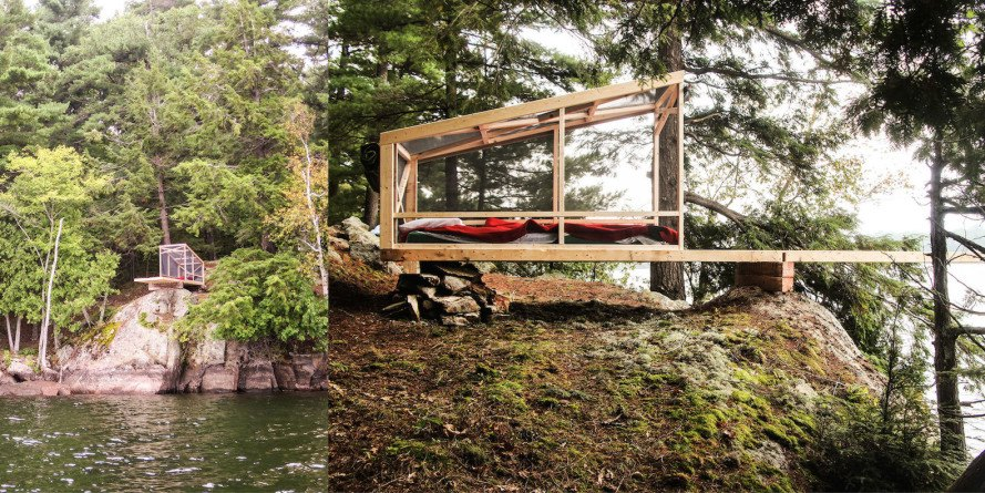Dream/Dive Platform by Studio North, low-cost architecture made with salvaged materials, diving platform made from salvaged materials, Bobs Lake architecture