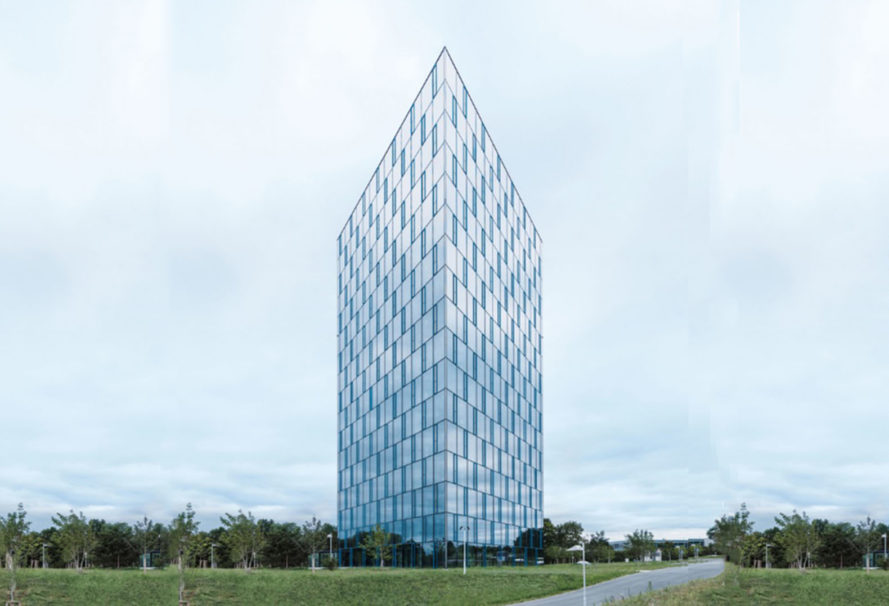 Festo AutomationCenter, Festo, office building, biomimcry, glass facade, glass panels, smart facade, green architecture solar power, automated facade, automated design, reinforced concrete