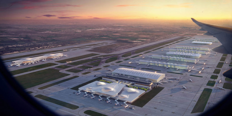 Heathrow Airport expansion, Heathrow Airport, London, airport design, innovative design, green architecture, Zaha Hadid, Grimshaw Architects, HOK, Benoy