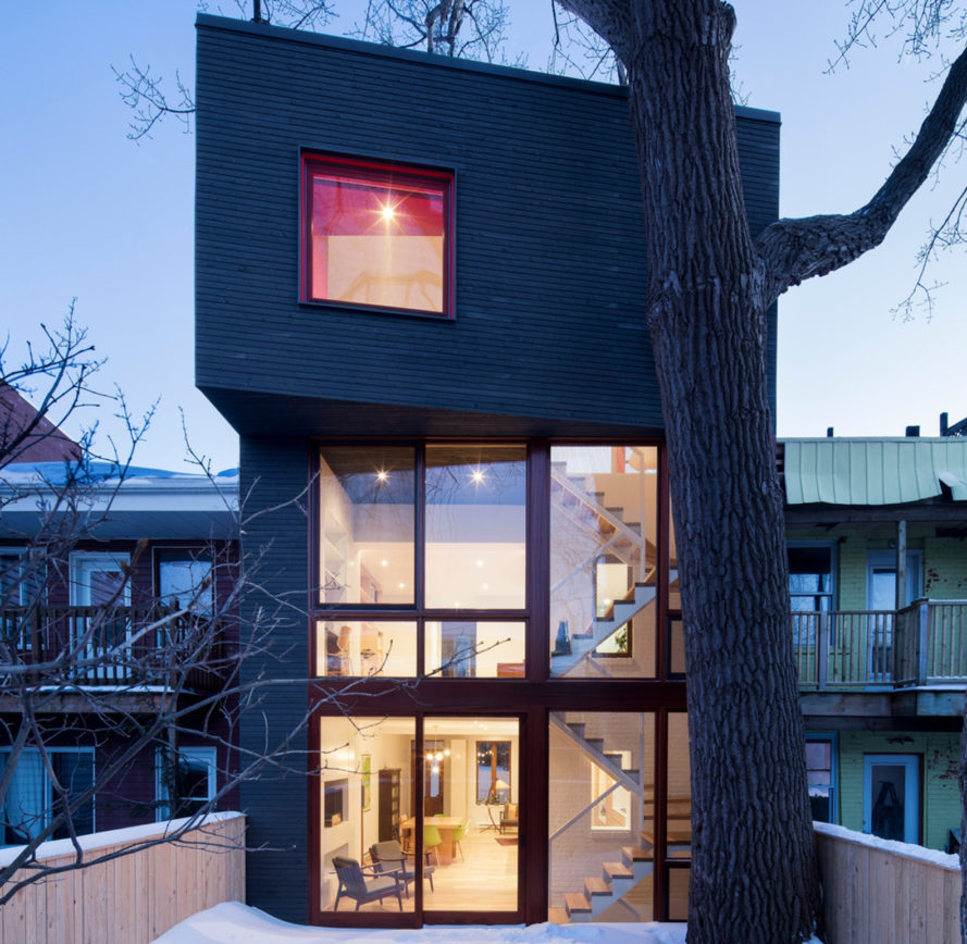 architecture microclimat, home renovations, home expansions, additions, trees, preserving trees, backyard, montreal, canada