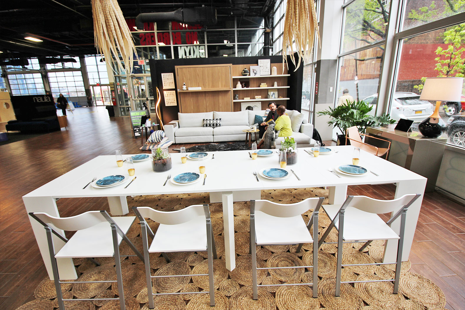 Interactive 500 square foot micro loft shows off small for Small dining area solutions