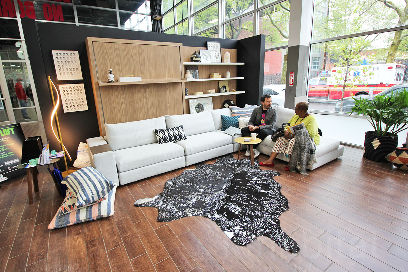 Living Room Furniture Brooklyn interactive 500-square-foot 'micro loft' shows off small living