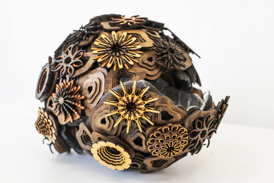 Joshua Abarbanel, mesmerizing art, wooden patterns, coral reef, wall piece, wooden sculpture, laser cut