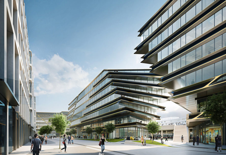 Zaha Hadid Architects (ZHA), mixed-use development, Prague, brownfield redevelopment, Masaryk Railway Station, flexible office spaces, masterplan, public spaces, public plaza, infrastructure, green architecture