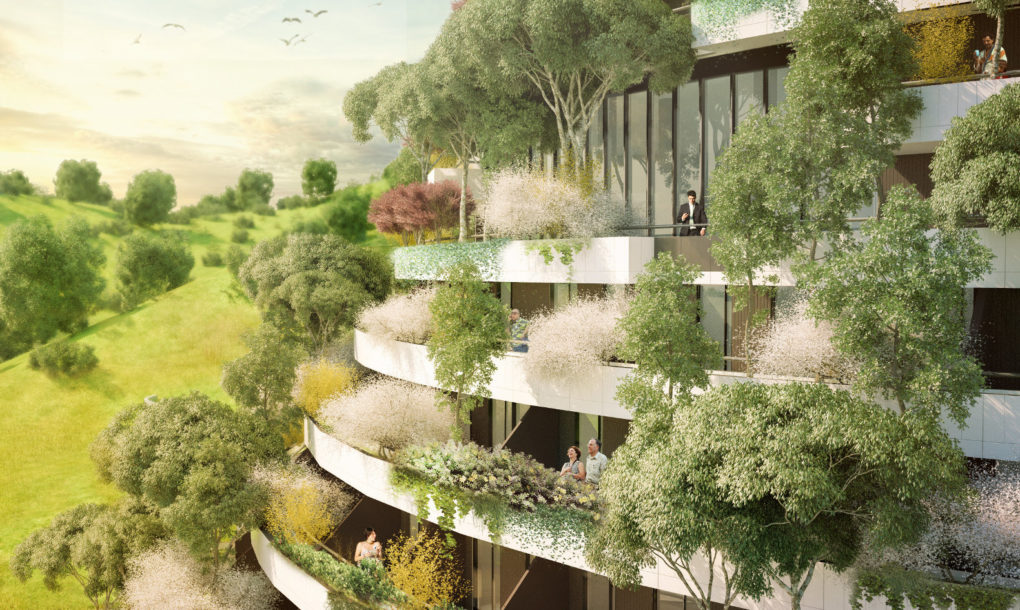 Vertical forest mountain hotel will clean the air in for Mountain designs garden city