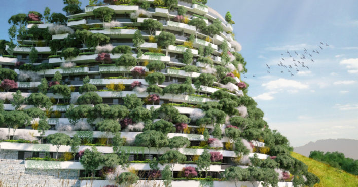 Vertical forest mountain hotel will clean the air in for Green hotel design