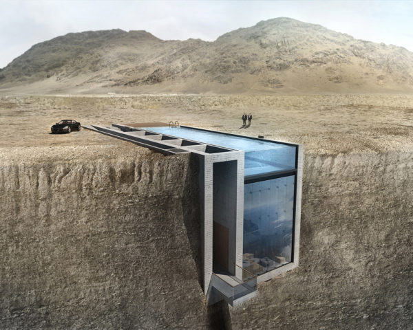casa brutable, OPA, Lebanon, cliffs, underground building, glass facade, swimming pool. waterfront, ocean view
