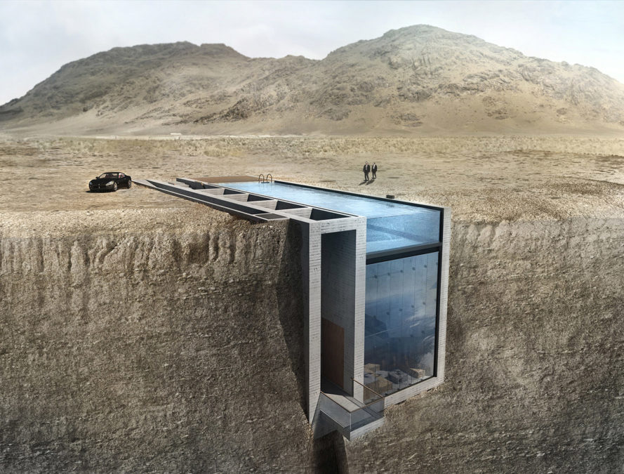 casa brutale, OPA, Lebanon, cliffs, underground building, glass facade, swimming pool. waterfront, ocean view