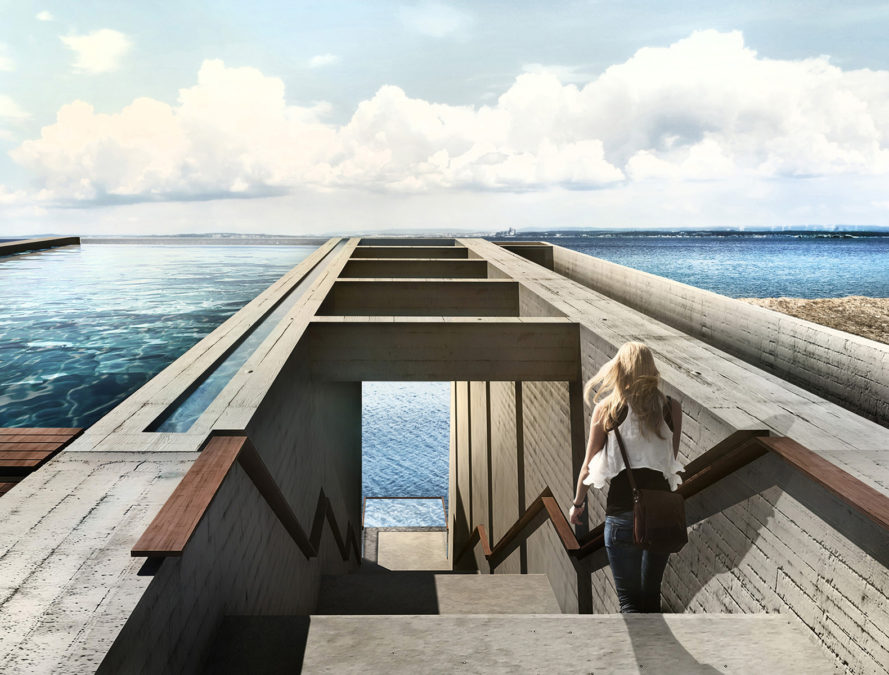 casa brutale, OPA, Lebanon, cliffs, underground building, glass facade, swimming pool, waterfront, ocean view