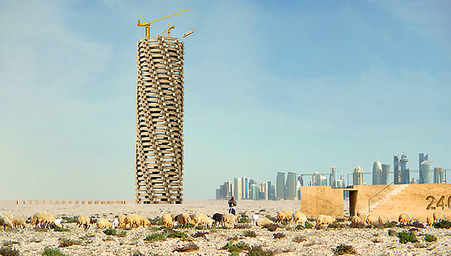 Memorial, monument, architecture, design, Memorial Day, Qatar World Cup Memorial, 1 Week 1 Project, Axel de Stampa, Sylvain Macaux, migrant workers, migrant worker death, stadium, tower, scalable, scalable tower