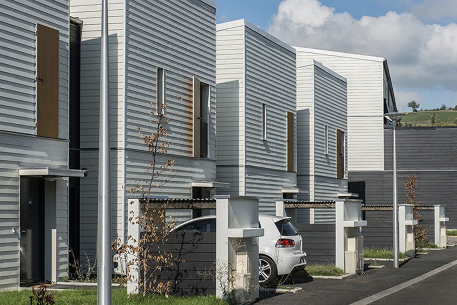 Rive-De-Gier eco-neighborhood, prefab, social housing, France, 5D process, dry construction, 3D modules,Tectoniques Architectes, green development, eco-neighborhood