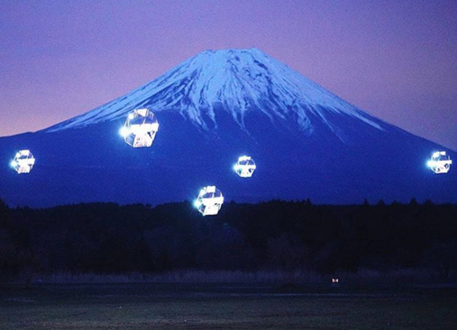 microad, sky magic, mt fuji, japan, LED light show, drone light show, LED-equipped drones, Tsuyoshi Takashiro