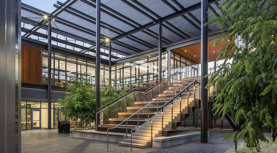 ZGF Architects, Stanford Central Energy Facility, Stanford University, green university campus, green campus, green energy system, carbon emissions, heat recovery system, CorTen steel, limestone facade, glass facade, green architecture