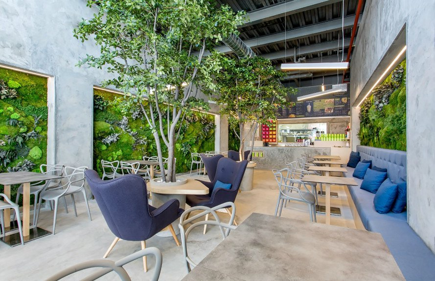 T.Bar, Dos G Arquitectos, T.Bar by Dos G Arquitectos, restaurant design, park, European courtyard, courtyard, concrete, living walls, restaurant, fast food, fusion food