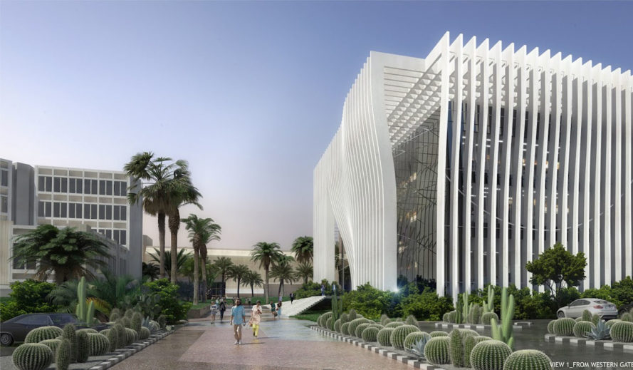 Atelier d'Architecture Michel Remon, research center, exoskeleton, Nanoscience and Nanotechnology Center, Tel Aviv, solar-powered building, solar power, natural ventilation, aluminium facade, natural cooling, solar panels, green architecture