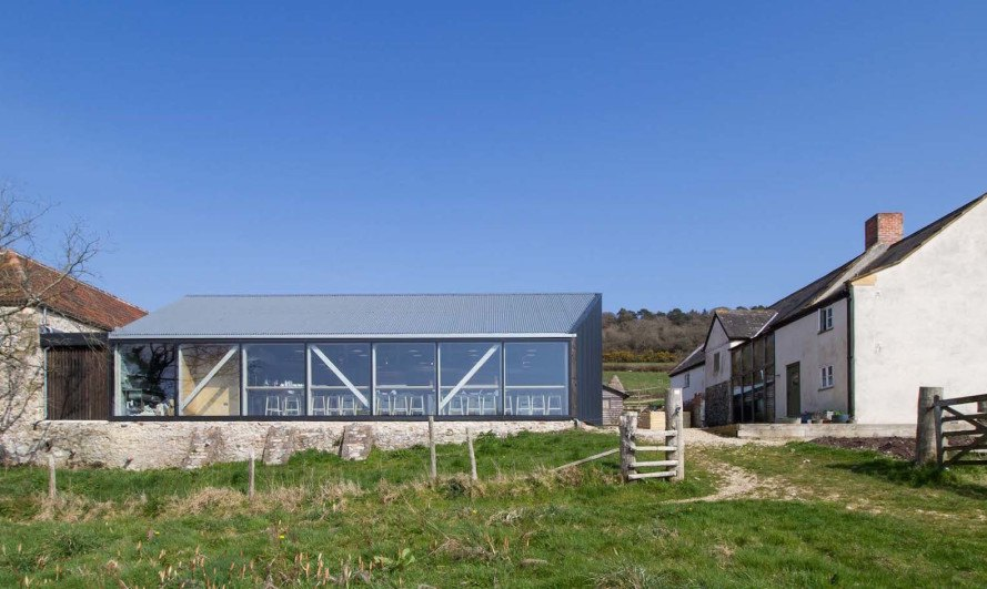 River Cottage Cooker School architecture, River Cottage Cooker School by Satellite Architects, renovated farm building, sustainability at River Cottage,