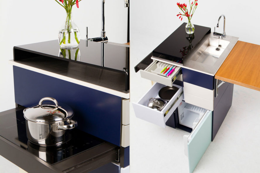 This ultra compact micro kitchen unfolds like a swiss army for Huzz house