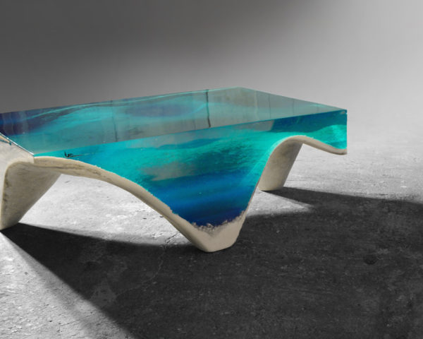 delMare table by Eduard Locota, acrylic glass table, ocean inspired table, tables that look like the sea, tables look like the ocean