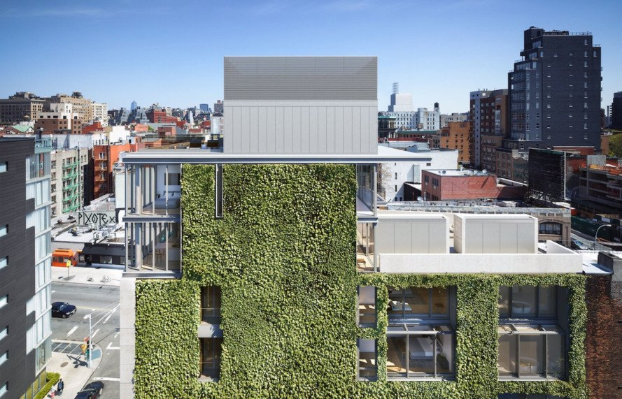 Tadao Ando,  M. Paul Friedberg and Partners, 152 Elisabeth Street, green wall, New York, NYC condominium, luxury condo, green facade, green architecture, flexible layout, concrete, vines