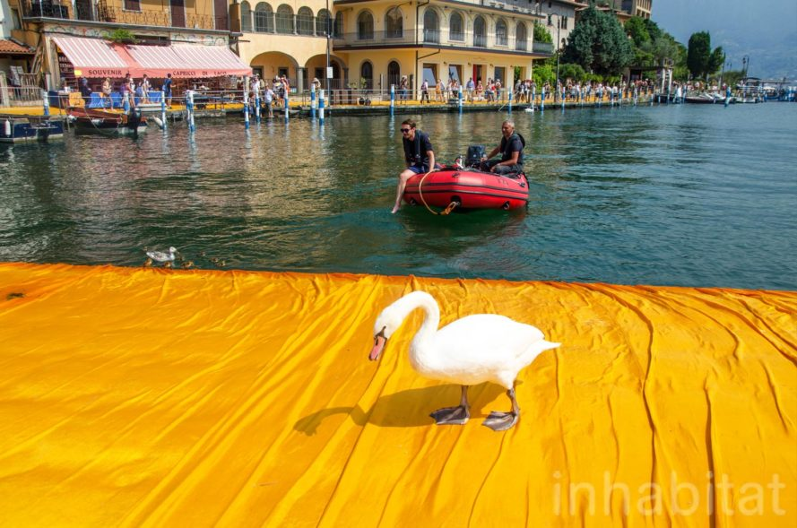 The Floating Piers, Christo, land art, art installation, italy, Lake Iseo, yellow, bridge, temporary installaion