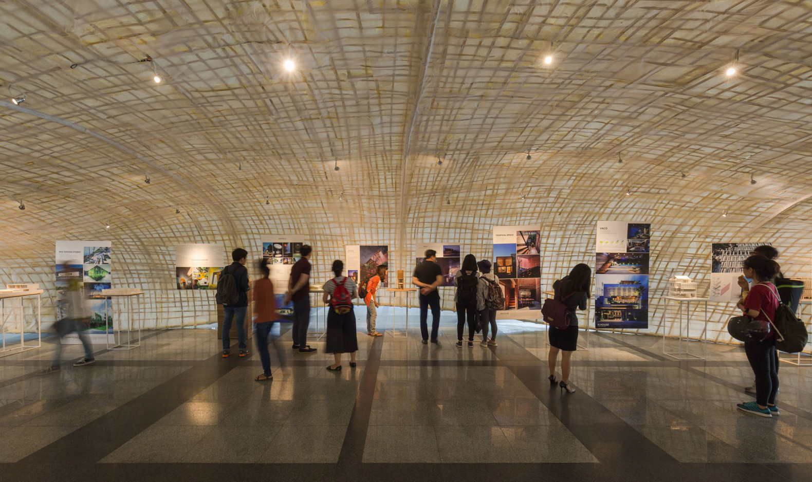 Saigon Architects Exhibition 2016, Saigon Architects Exhibition by HandHome, Paper Cocoon Pavilion by a21 studio, cocoon pavilion, bamboo and paper pavilion, bamboo pavilion, papier mâché pavilion