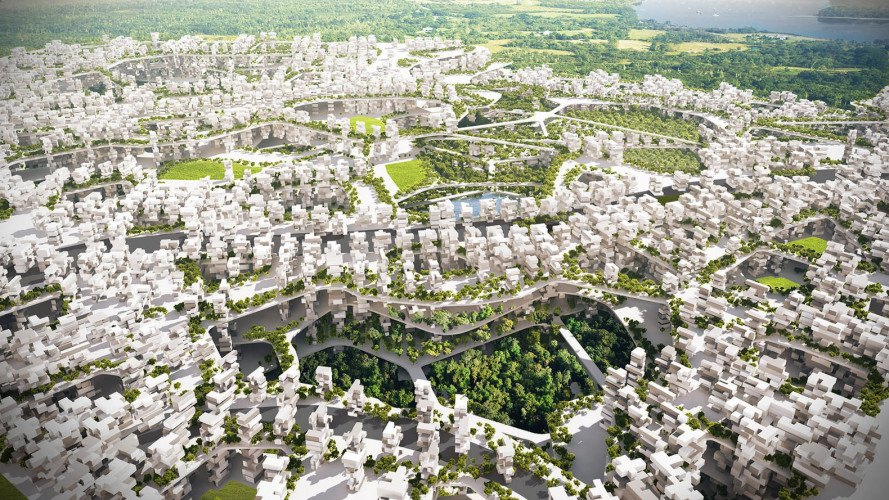 Liberland, algae-powered city, algae-powered micro-nation, RAW-NYC, world's newest micro nation, Liberland design competition, sovereign Liberland nation, green pedestrian-friendly city, inverted archaeology