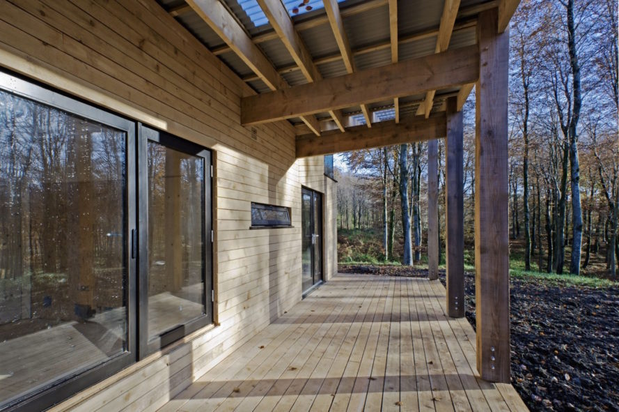 Caretaker's House by Invisible Studio, Caretaker's House at Hooke Park, green timber house, locally felled and sourced timber house,