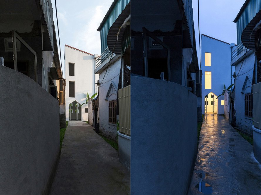 Cul-de-sac House by Nguyen Khac Phuoc Architects, narrow residential architecture, skinny townhouse design, tropical climate narrow architecture