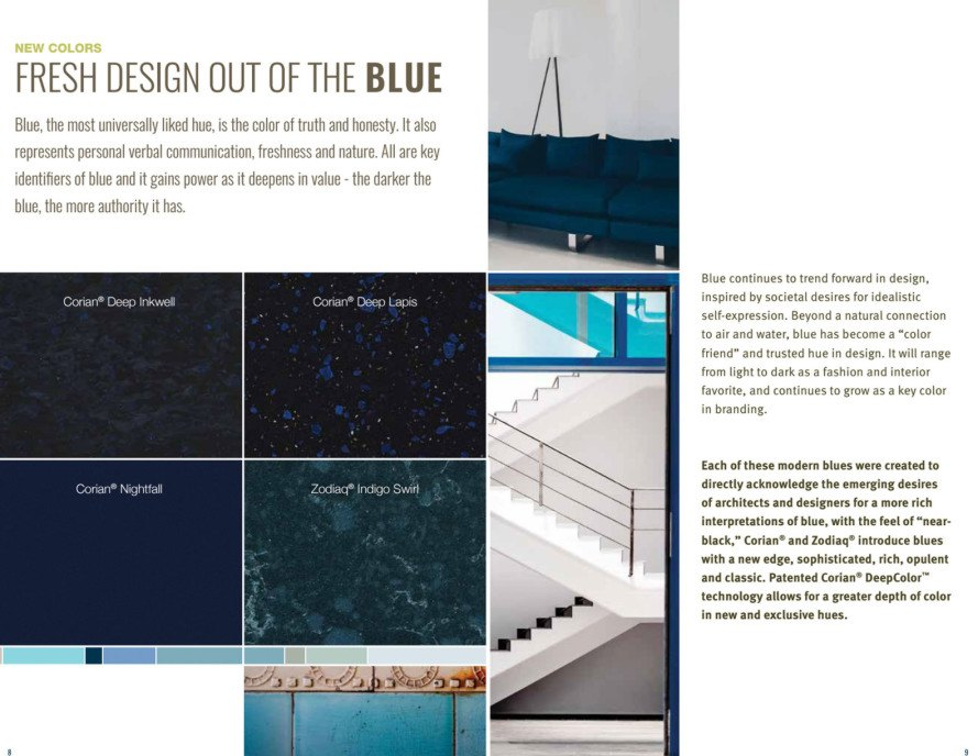 color trends, colortrends, blue, navy blue, blue counter top, blue corian, blue zodiaq, blue counter surface, dupont colortrends, corian, zodiaq, countertop colortrends, countertop colors, kitchen design, interior design