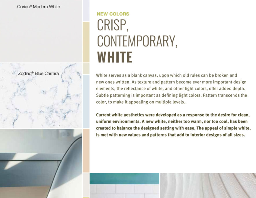 Color Trends, Colortrends, White, Clean Crisp White, Dupont Colortrends,  Corian,