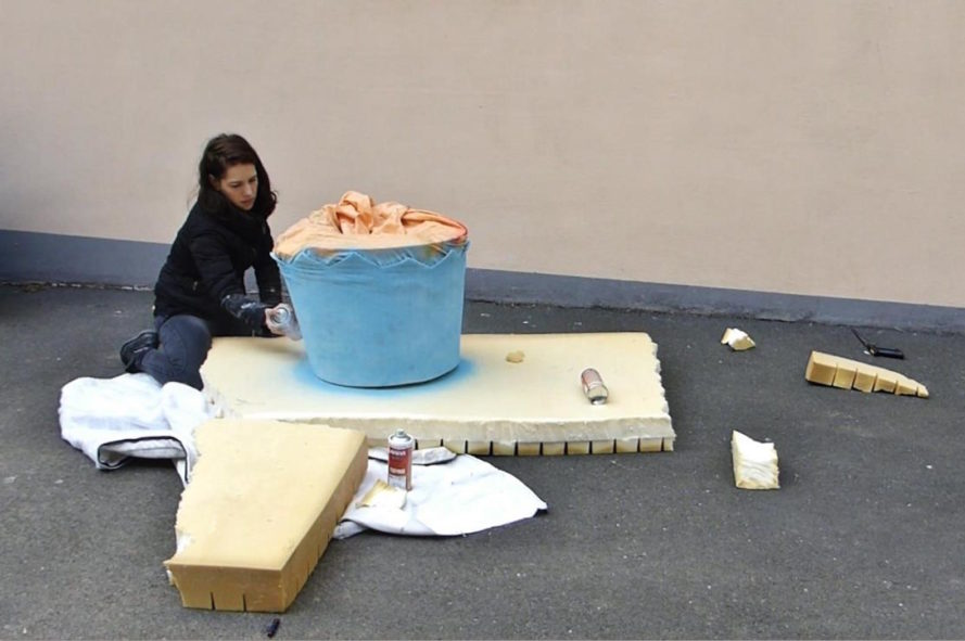 Eat Me by Lor-K, upcycled mattress art, recycled mattress art, mattresses into food, mattress food art, Lor-K mattress art, Eat me mattress art