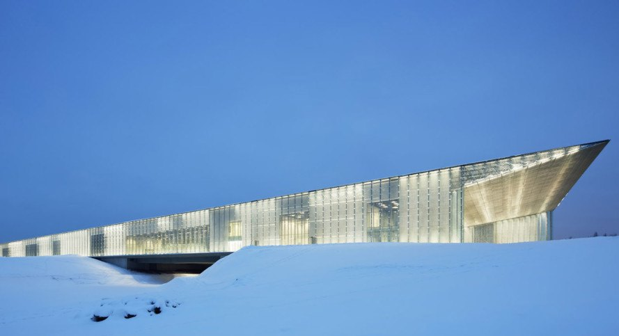 Estonian National Museum, Soviet architecture, Estonia, Dorell Ghotmeh Tane (DGT), exhibition spaces, auditorium, public library, conference hall, green architecture, triple glazing, natural light, glass facade