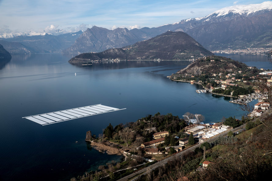 Floating Piers, floating walkway, floating docks, Christo, Jeanne-Claude, art installation, art, art project, project, Italy, Lake Iseo, fabric, yellow fabric, cubes, poly-ethylene cubes, collage