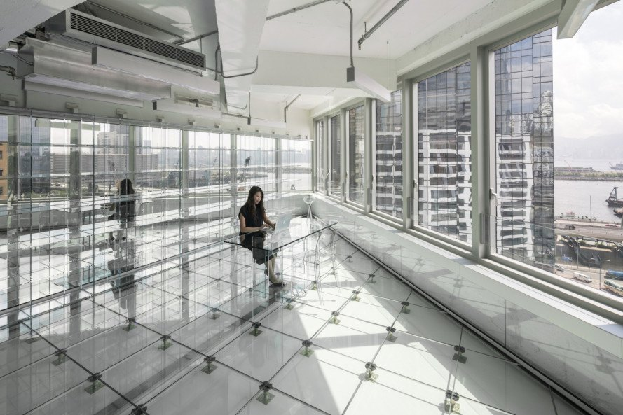factory transformed into offices, Hong Kong glass office, full glass office building, Glass Office by MVRDV, 133 Wai Yip Street