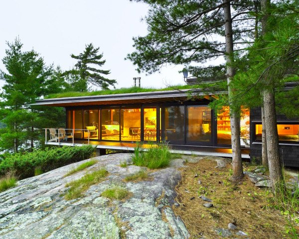 Go Home Bay Cabin by Ian MacDonald Architect, green-roofed cabin, cabins in southern Ontario, eco-friendly cabin, cabin retreat in Ontario