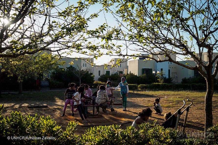 LM Village, UNHCR, refugee, refugees, refugee relocation, refugee camp, resort, abandoned resort, Greek resort, bungalows, aparments, children, playground