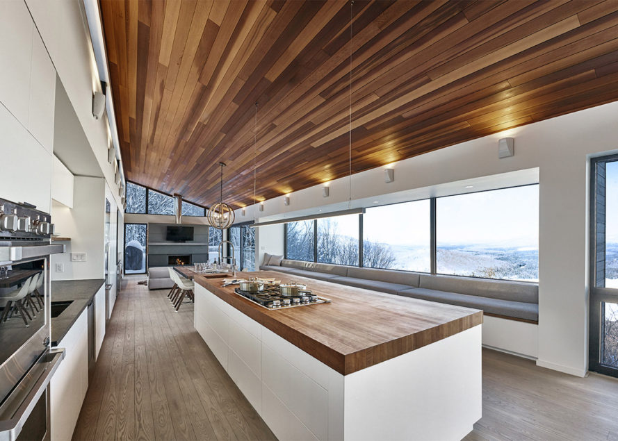 Laurentian Ski Chalet by RobitailleCurtis, Laurentian Ski Chalet, elevated ski chalet, ski cabin architecture, energy efficient ski chalet, contemporary ski chalet