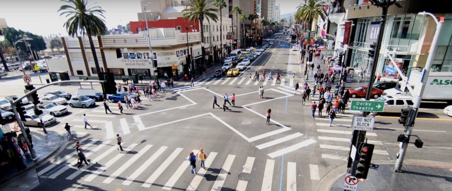 los angeles, crosswalk, scramble, barnes dance, pedestrians, traffic, public safety, transit safety, pedestrian safety, car crashes, vision zero