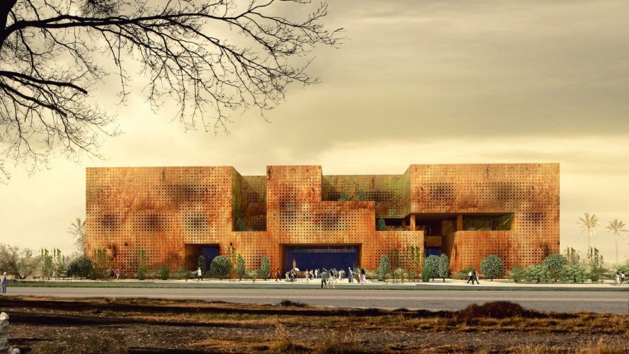 Marrakesh Congress Center by Tabanlioglu Architects, modern architecture in Marrakesh, perforated stone facade, 2016 The Plan award for future projects, modern architecture in Africa,
