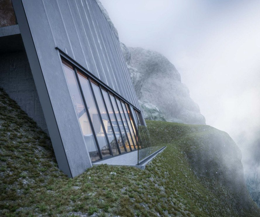 Matthias Arndt, art, design concept, triangle cliff house, germany, cliffside homes, mountain cabin, design challenge, balcony, mountain views, floor-to-ceiling windows